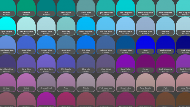 Spectrum Swatch - overview of colours included
