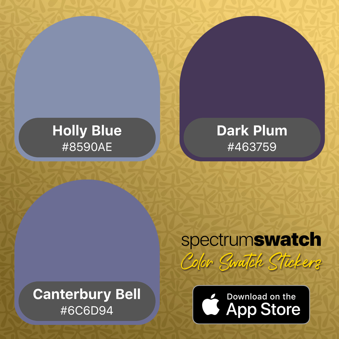 Holly Blue, Dark Plum and Canterbury Bell - shades of purple